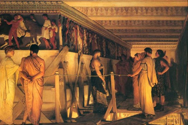 1868 Lawrence Alma-Tadema - Phidias Showing the Frieze of the Parthenon to his Friends