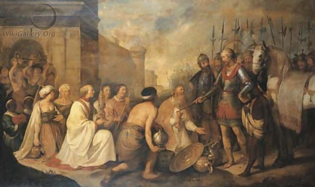 Attila the Hun meets with Pope Leo I, Gennadius Avienus and Trigetius (452)