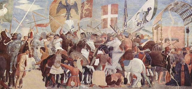 Battle between Heraclius' army and Persians under Khosrau II -Piero_della_Francesca_021