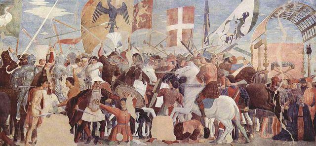Battle between Heraclius' army and Persians under Khosrau II -Piero_della_Francesca_021