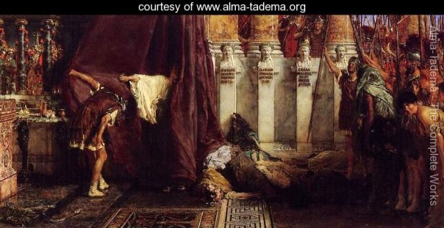 Lawrence Alma-Tadema_ Claudius chosen as emperor_Ave,-Caesar!-Io,-Saturnalia!-large