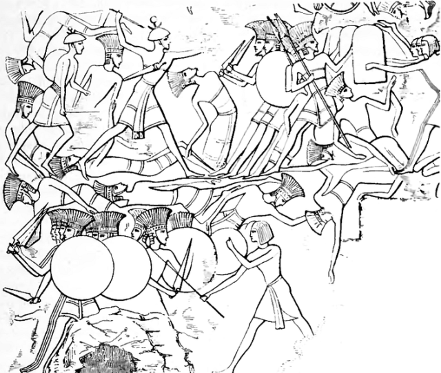 Sea-People V Egypt_1170s Battle_of_Djahy_Reliefs_depicting_the_battle_Pulasti (Philistine) and Tsakkaras