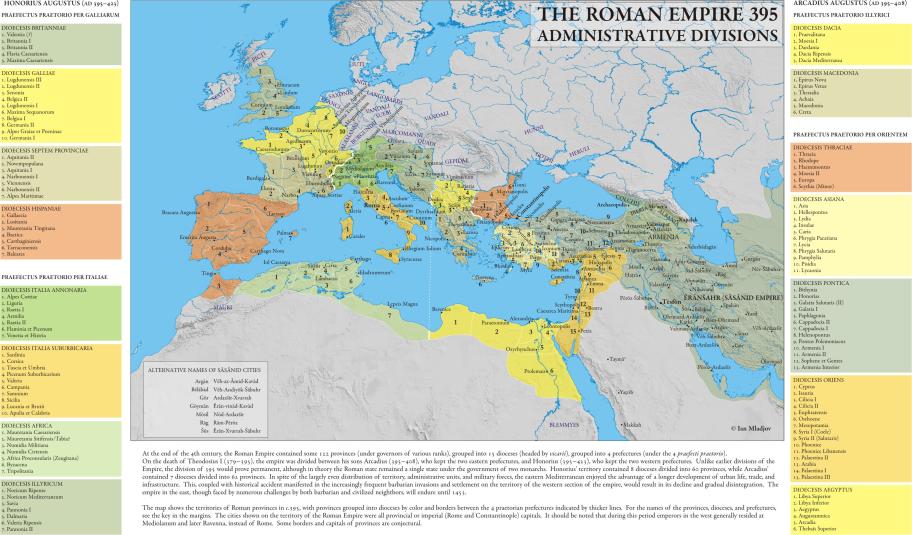 Roman Empire Administrative Divisions 395